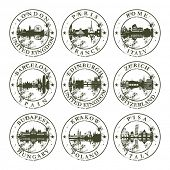 pic of zurich  - Grunge rubber stamps with London - JPG