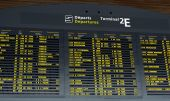 stock photo of gaul  - Airport Departure Board at Charle de Gaule paris - JPG
