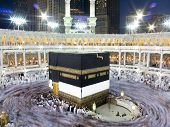pic of mekah  - Kaaba the Holy mosque in Mecca with Muslim people pilgrims of Hajj praying in crowd  - JPG
