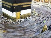 pic of kaaba  - Kaaba the Holy mosque in Mecca with Muslim people pilgrims of Hajj praying in crowd  - JPG