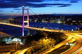 image of hong kong bridge  - Freeway and bridge in Hong Kong - JPG
