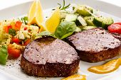 picture of pork cutlet  - Grilled steaks and vegetable salad - JPG
