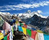 image of dharma  - view of everest from gokyo ri with prayer flags  - JPG
