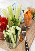 picture of crudites  - Crudites stripes in small glasses  - JPG