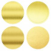 pic of gold medal  - gold seals or medals set isolated on white - JPG