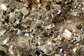 stock photo of pyrite  - Beautiful specimen of golden pyrite mineral in close up - JPG