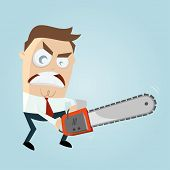 stock photo of chainsaw  - angry man with chainsaw - JPG