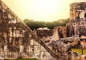 stock photo of mayan  - Mayan Pyramid in Chichen Itza Site - JPG