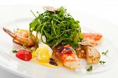 foto of quail  - Salad with King Red Crab - JPG