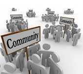 stock photo of coexist  - Community People Gathered Around Signs Friends Neighbors - JPG