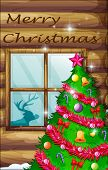foto of rudolph  - Illustration of a christmas tree near the window - JPG