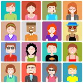 image of gathering  - illustration of flat design people icon - JPG