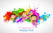 image of indian culture  - illustration of kids playing Holi with color and pichkari - JPG