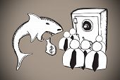 foto of loan-shark  - Loan shark and finance doodles against grey background with vignette - JPG
