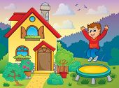 stock photo of bounce house  - Boy playing near house theme 1  - JPG
