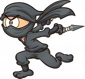 image of ninja  - Cartoon ninja running - JPG