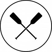 stock photo of paddling  - crossed canoe paddles symbol - JPG