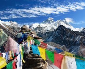 foto of dharma  - view of everest from gokyo ri with prayer flags  - JPG