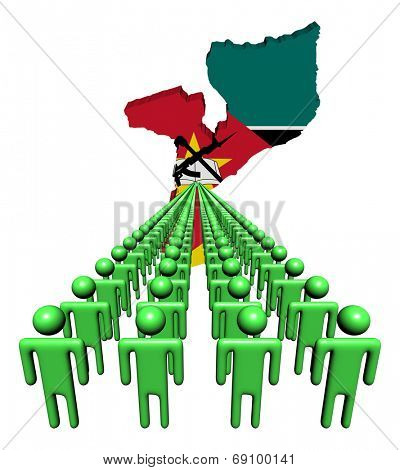 Lines of people with Mozambique map flag illustration
