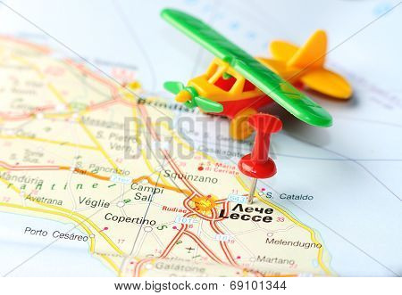 Lecce  Italy Map Airplane