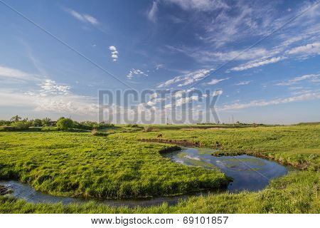 green grass, river and clouds