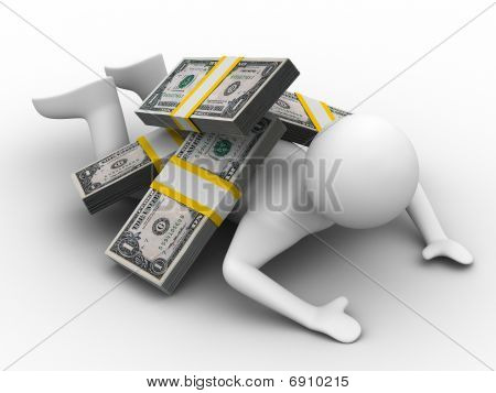Man Under Money On White Background. Isolated 3D Image