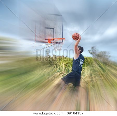 Dunking In A Blurred Playground