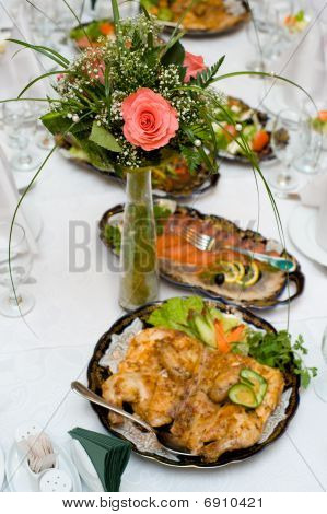 Small Bouquet With Rose On Laid Table