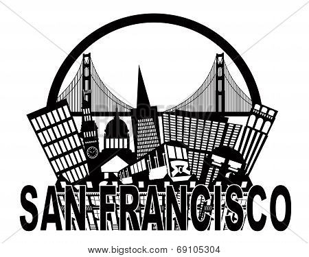 San Francisco Skyline Golden Gate Bridge Black And White Illustration