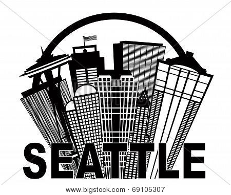 Seattle Abstract Skyline In Circle Black And White Illustration