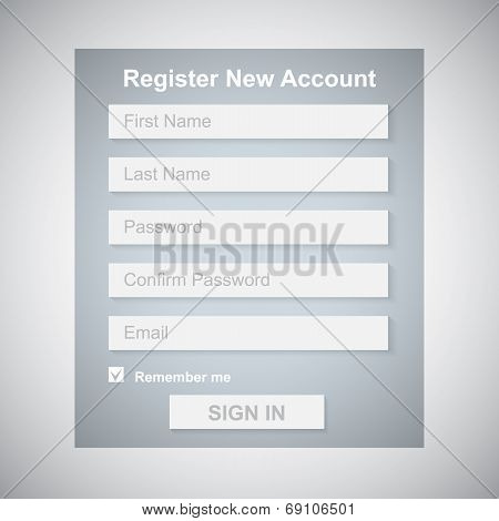 The Simple Gray Register New Account Form.