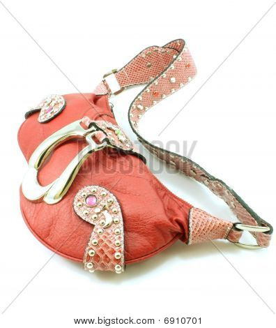 Red stylish purse handbag with strap