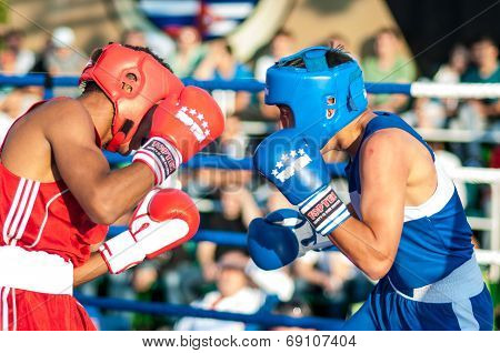 A Boxing Match Javier Ibanez, Cuba And Malik Bajtleuov, Russia. Defeated Javier Ibanez