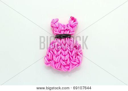 Pink Elastic Rainbow Loom Bands Dress Shaped