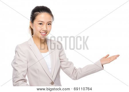 Asian businesswoman presentation on white background