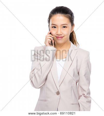 Asian businesswoman talk on mobile phone