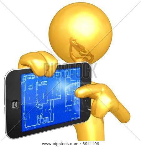Gold Guy With Touch Screen Home Construction Blueprints