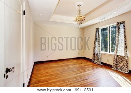 Empty Room Interior With Coffered Ceiling