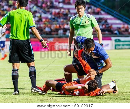 Sisaket Thailand-july 23: First Aid Team Of Sisaket Fc. (blue) In Action During Thai Premier League