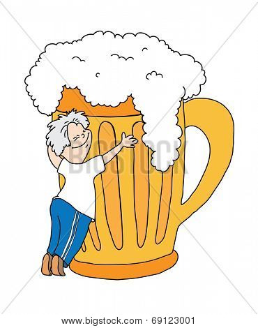 man hugging a mug of beer, cartoon vector illustration