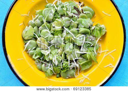 Broad Bean Salad With Hard Cheese.