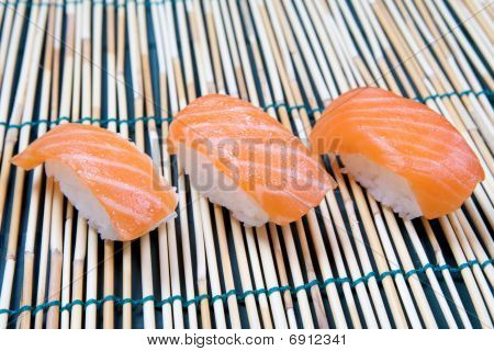 Sushi Nigiri on bamboo mat