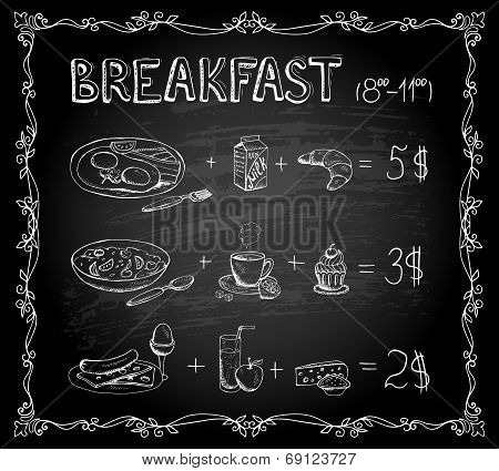 Breakfast chalkboard menu