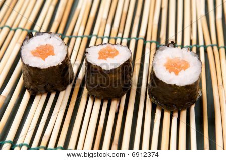 Hosomaki sushi on bamboo mat