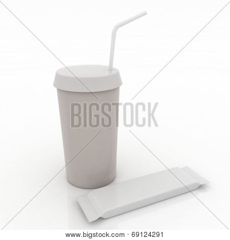 White plastic glass with tubule and choc on a white background