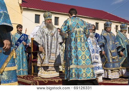 TIKHVIN, RUSSIA - JULY 9, 2014: Bishop Tikhvin and Lodeinopolskiy Mstislav celebrate Orthodox divine Liturgy on occasion celebrations of 10th anniversary of return of Tikhvin icon of Mother of God.