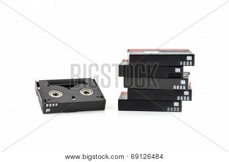 Mini Dv Cassettes Isolated On White Background