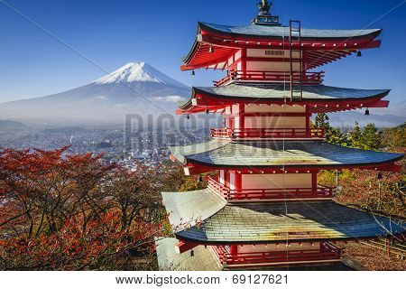 Mt. Fuji and Pagoda during the fall season in Japan.