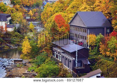 Jozankei, Hokkaido, Japan in the fall season.