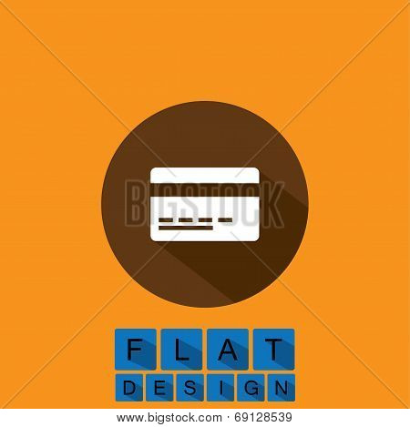 Flat Design Icon Of Credit Card Or Debit Card - Vector Graphic